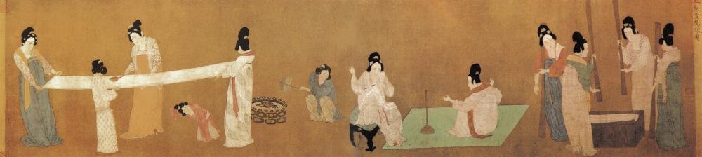 Rouleau des femmes de cour préparant la soie nouvelle, Zhang Xuan,attribué à l'empereur Song Huizong 宋徽宗 (r. 1100 - 1126) d'après le rouleau antérieur de Zhang Xuan (a. 714 - 742).