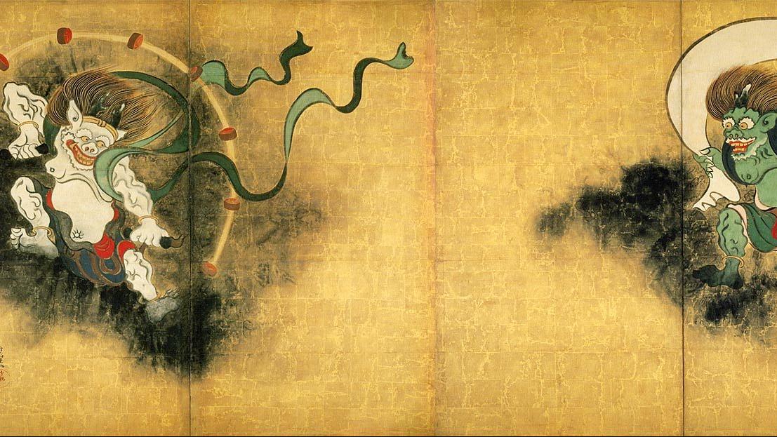 尾形光琳 (Ogata Korin, 1658 - 1716) Title 風神雷神図 (Wind God & Thunder God)