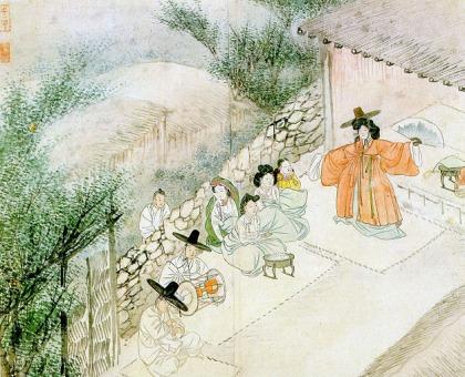 Sin yunbok_Hyewon pungsokdo_chamane_28.2x35.6cm_XVIIIe s_Gansong art museum