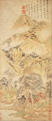Dong Qichang 董其昌 (1555-1636), Automne sur la montagne 秋山图, encre et couleurs sur papier, 107,1x46,4 cm, rouleau vertical, © Musée de Shanghai.