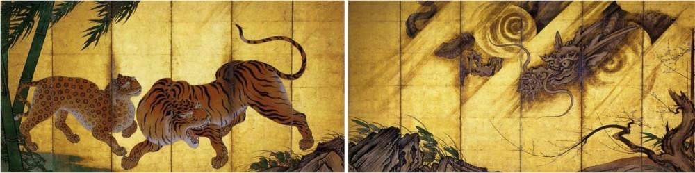 Kanō Sanraku_Tigres et dragons_encre cou et orsur pap_77.5x356.5 x2_XVIIe_Kyoto-Myoshinji