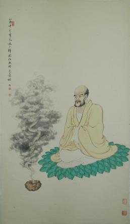 Lin Shu_bonze conjurant le dragon dans un bol_1945_encre et couleurs sur papier_1108,1x61,4cm_musée Cernuschi