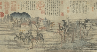 Zhao Mengfu 赵孟俯 (1254-1322), Couleurs d'automne sur les monts Qiao et Hua 鵲華秋色, 1296, encre et couleurs sur papier, 28,4x90,2 cm, rouleau horizontal, © Musée National du Palais, Taipei.