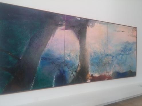 Zao Wou-Ki, Hommage à Claude Monet, février-juin 91 – Triptyque, 1991, huile sur toile, 194x483 cm, collection particulière.
