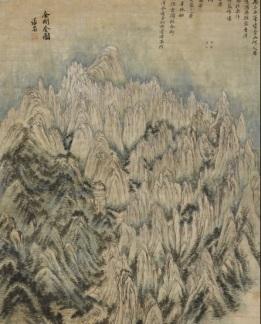 Chong Son (1676-1759), The diamond mountains, daté 1734, encre et couleurs sur papier, 130,7x94,1 cm, Leeum Museum