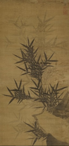 Yi JEong (1554-1626), Bamboo, fin XVI-début XVIIe, encre sur soie, 122,8x52,3cm, Leeum Museum