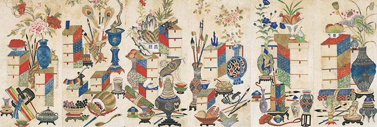Chaekgeori,_late_1800s,_Six-panel_folding_screen,_private_collection