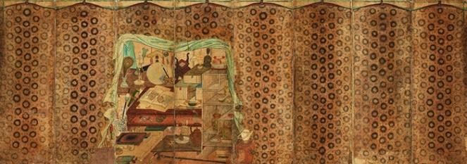 Chaekgori derrière une peau de léopard_XIXe s_ encre et cou sur pap_128x355cm_Séoul-Leeum museum
