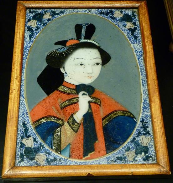 Portrait féminin, Chine, vers 1780, peinture sur verre, prêt d'un collectionneur privé
