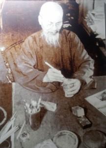 Qi Baishi dans son atelier, non daté, photographie, Musée mémoriel de Qi Baishi, Xiangtan © Camille Bertrand.