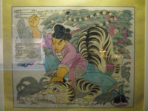 Estampe de l'opéra Au bord de l'eau, épisode de Wu Song combattant le tigre, Shaanxi, Feng Xiang, vers 1960, papier, collection Kwok On