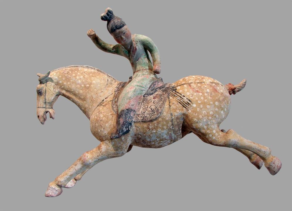 Joueuse de polo, Tang (618-907), Chine du nord, terre cuite peinte, Paris, Musée national des arts asiatiques - Guimet