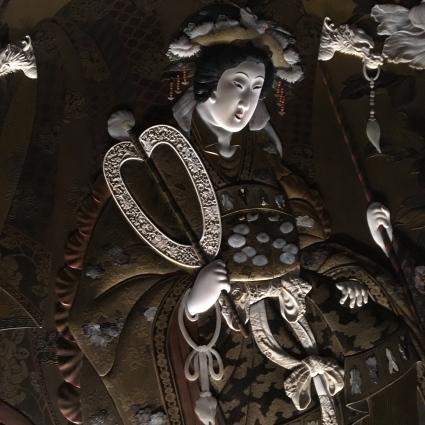 Paravent à décor de divinités shintoïstes (détail), collection Khalili, Londres. Photo : Manon Sarda