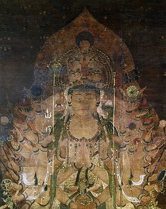 Senju Kannon (Sahasrabhuja), XIIe siècle, couleurs et or sur papier, 138 x 69,4 cm, rouleau vertical, Musée national de Tōkyō, A10506 (trésor national). Source image: Musée national de Tôkyô.