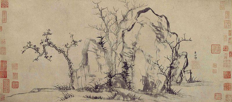 elegant rocks and sparse trees, encre sur papier, 27,5x62,8 cm, musée du palais pékin